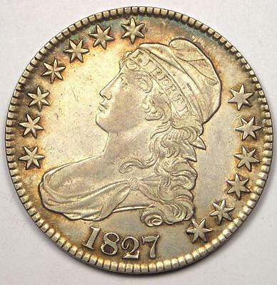 1827 Capped Bust Half Dollar 50C - AU Details - Rare Coin!