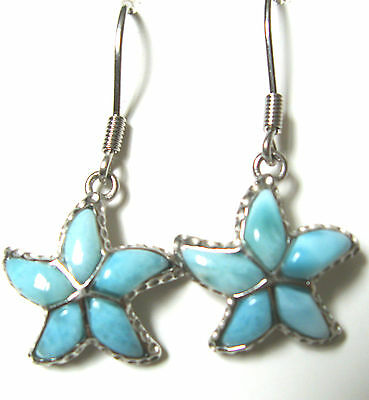 925 Sterling silver earrings with natural gemstone larimar inlay