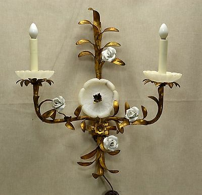 Vintage Italian Gilt Metal Tole, Ceramic, Alabaster Electric Wall Sconce - Works