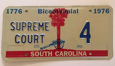 1976 South Carolina Supreme Court License Plate Low Number Single Digit #4