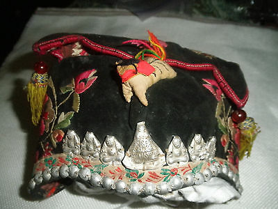 Antique Chinese Miao Ethnic embroidered baby hat with silver buddhas and beads