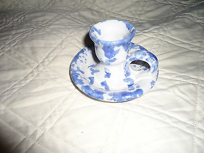 BYBEE Kentucky Blue White Spongeware Candle Stick Holder