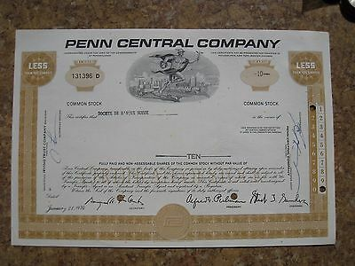 Penn Central Company Common Stock Share Certificate Commonwealth of Pennsylvania