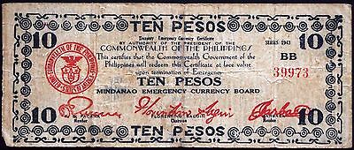 PHILIPPINES 1943 Ten Pesos WWII Emergency Currency S498 Series BB