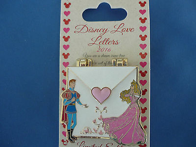 LOVE LETTERS   Disney Pin 2016 AURORA  & PRINCE   Limited Edition NEW on card
