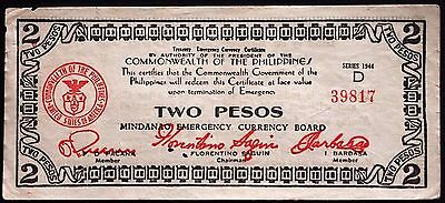 PHILIPPINES 1944 2 Pesos WWII Emergency Currency S516 Series D