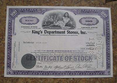 King's Department Stores Common Stock Share Certificate State of Delaware