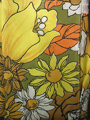 """2 Vintage MOD FLOWER Curtain Swags - NEW in Pkgs! Daisies - Pair fits 80"""" wide"""