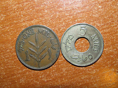 Palestine 1927 1 and 5 Mils coin lot Very Fine nice