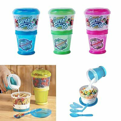 ATB 1 X Cereal On The Go Cup EZ Freeze Gel Travel Food Storage Snack Container