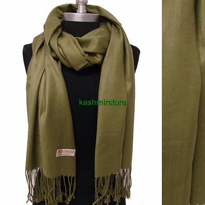NEW Solid 100%Pashmina Wrap Cashmere Wool Shawl/Scarf Soft Oliver green #Z503