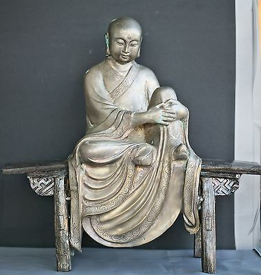 Magnificent  Antique Chinese Heavy Solid Bronze Buddha Statue Circa Early 1900s
