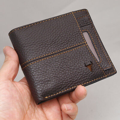 New Brown Leather Wallets For Mens Credit Card Wallet Zipper Coin Pocket Purse