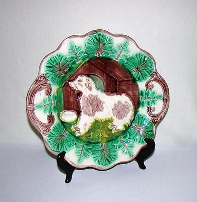 Large Antique Majolica Dog Cake Plate Tray, Mint Condition