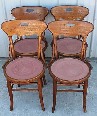 4 1910-20s OLD FINISH ANTIQUE OAK BENTWOOD LOVEBIRD SEAT DINING ROOM CHAIRS