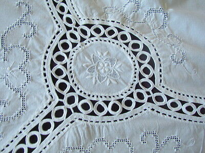 Vintage crocheted inserts Floral Embroidered Tablecloth White Open work