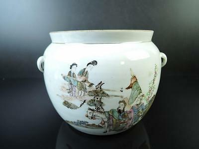 E2227: Chinese Colored porcelain Person HorsePoetry pattern VASE pot, auto