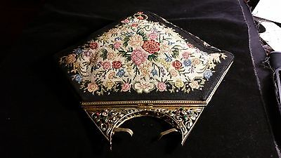 1920's Beautiful Tapestry Clutch Evening Bag - Natural Stones
