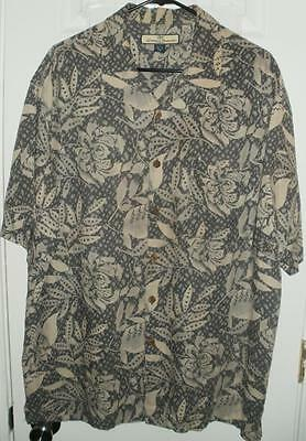 Tommy Bahama Short Sleeve 100% Silk Button Front Shirt with Prints: Size L