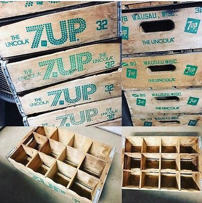 1 Vintage 7Up The Uncola 32 Oz Wood Soda Pop Crate Wausau Wisconsin 12 Dividers