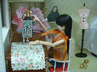1:6 scale Dollhouse Furniture Sewing Machine Sound+ Parts Movable OOAK barbie
