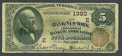 1882 $5 Brown Back Bank of New York National Banking Association Bank Note 1393