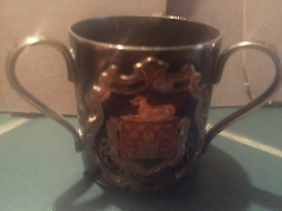 Stirling Shield Loving Cup Mini Goblet Electro Plated Silver Three Handled Epns