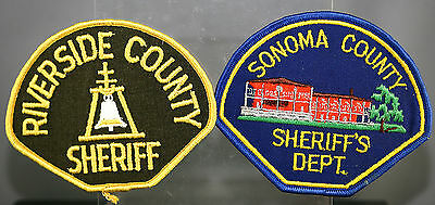 Obsolete California Riverside & Sonoma County Police Shoulder Patches