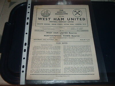 West Ham Utd Reserves v Northampton Town Oct 1952 Football Combination