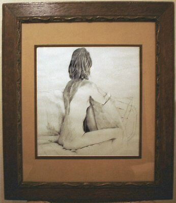 Nude pencil drawing with antique french carved wooden frame signed by artist Kip