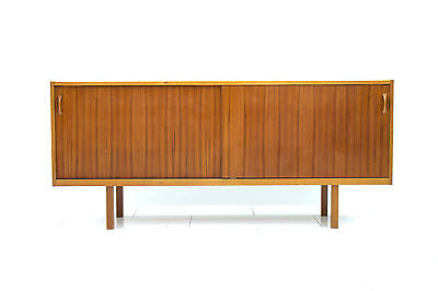Scandinavian Teak Wood Sideboard with Sliding Doors, Sweden 1960`s Mid Century