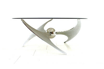 Adjustable Dining or Sofa Table L. Campanini for Cama, Italy 1973 Metal & Glass