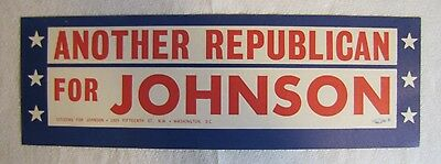 """Vintage Political Bumper Sticker- """"ANOTHER REPUBLICAN FOR JOHNSON"""""""