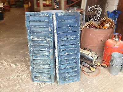Pair Of Blue French Painted Shutters