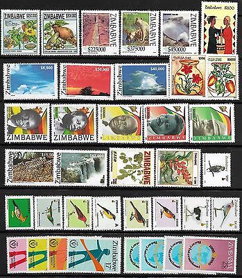 Zimbabwe MNH 37 different stamps / Birds / Lion - High cat! Bargain!