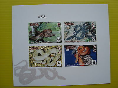 Wwf Samoa 2015, Pacific Tree Boa, 1 Deluxe Combo, Imperforated, Mnh