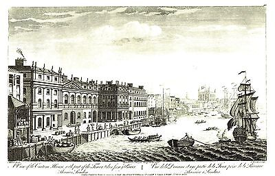 """The Custom House & Tower of London (1790) Lithograph after J. Bowles - 11"""" x 14"""""""