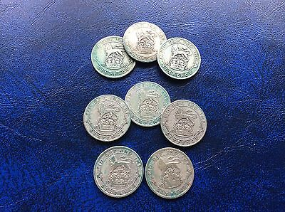 Eight George V Sixpences 1920 to 1927 consecutive dates