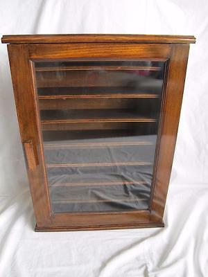 Vintage Mid Century Stained Beech Old Post Office / Shop / Display Wall Cabinet
