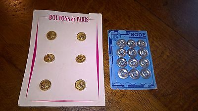 2 Packs of Vintage Metal French Buttons.