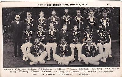 Real Photo The West Indies Cricket Team England 1939 Sporting Postcard (SP1165)