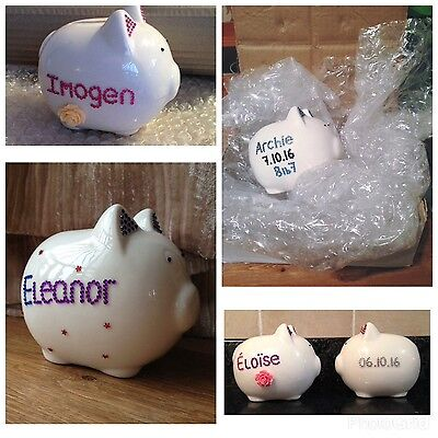 Personalised Piggy Bank Money Box, Newborn Baby. Kids Easter Gifts. Bling Pig.