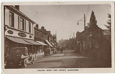 Postcard Looking Down High Street  Blackwood  Monmouthshire Wales Posted 1953