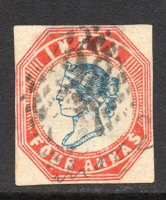 India. Queen Victoria. 4 Anna. Used.  Issued 1855.  SG No. 23