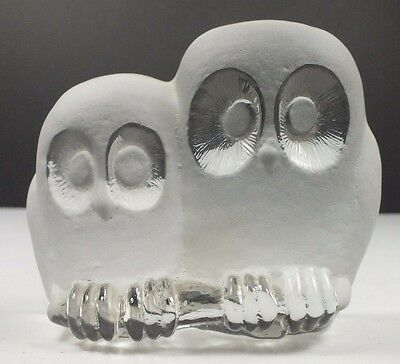 Viking Glass Double Owl Frosted & Crystal Glass Paperweight Hand Made in USA