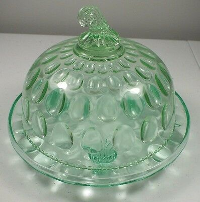 Hobbs Brockunier Apple Green Inverted Thumbprint Footed Cheese Plate ~ Dome Lid