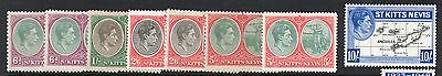 St. Kitts Nevis. Full Set,Plus most colour/ Perf changes. 1/2d to 5/- . GeorgeVI