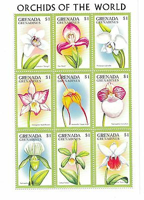 Grenada Grenadines - Flowers, Orchids of the World, 1997 - Sc 1989 Sht of 9 MNH