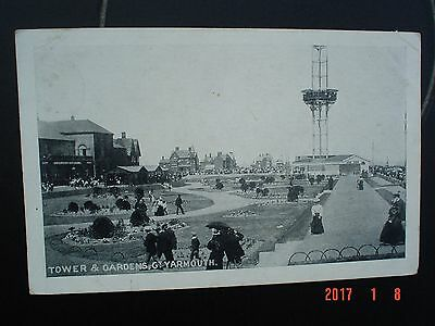 Postcard BW Tower & Gardens Great Yarmouth Norfolk