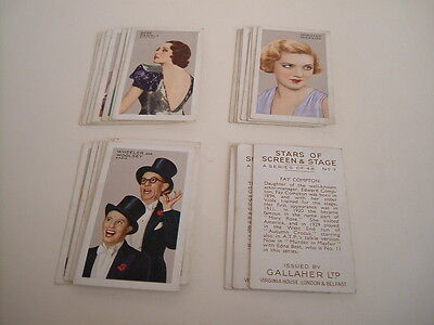 Gallaher Cigarette Cards . Stars Of Screen And Stage . Part Set .